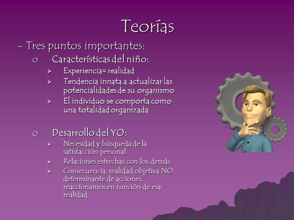 Teorías - Tres puntos importantes: oCaracterísticas del niño: Experiencia= realidad Experiencia= realidad Tendencia innata a actualizar las potenciali