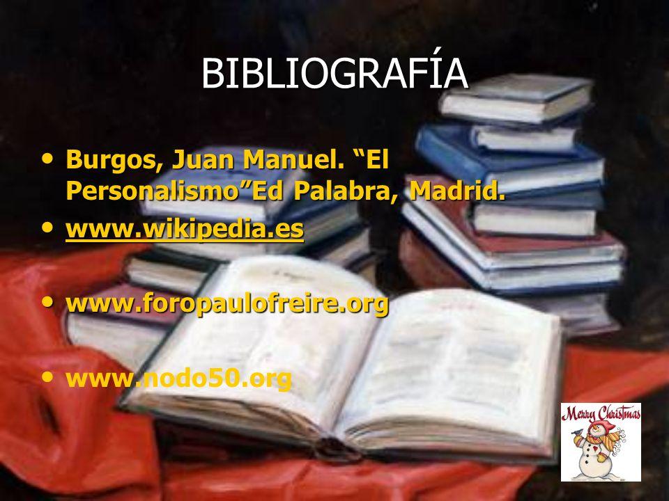 BIBLIOGRAFÍA Burgos, Juan Manuel. El PersonalismoEd Palabra, Madrid. Burgos, Juan Manuel. El PersonalismoEd Palabra, Madrid. www.wikipedia.es www.wiki