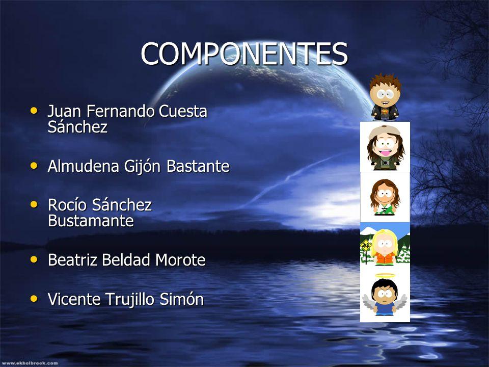 COMPONENTES Juan Fernando Cuesta Sánchez Juan Fernando Cuesta Sánchez Almudena Gijón Bastante Almudena Gijón Bastante Rocío Sánchez Bustamante Rocío S