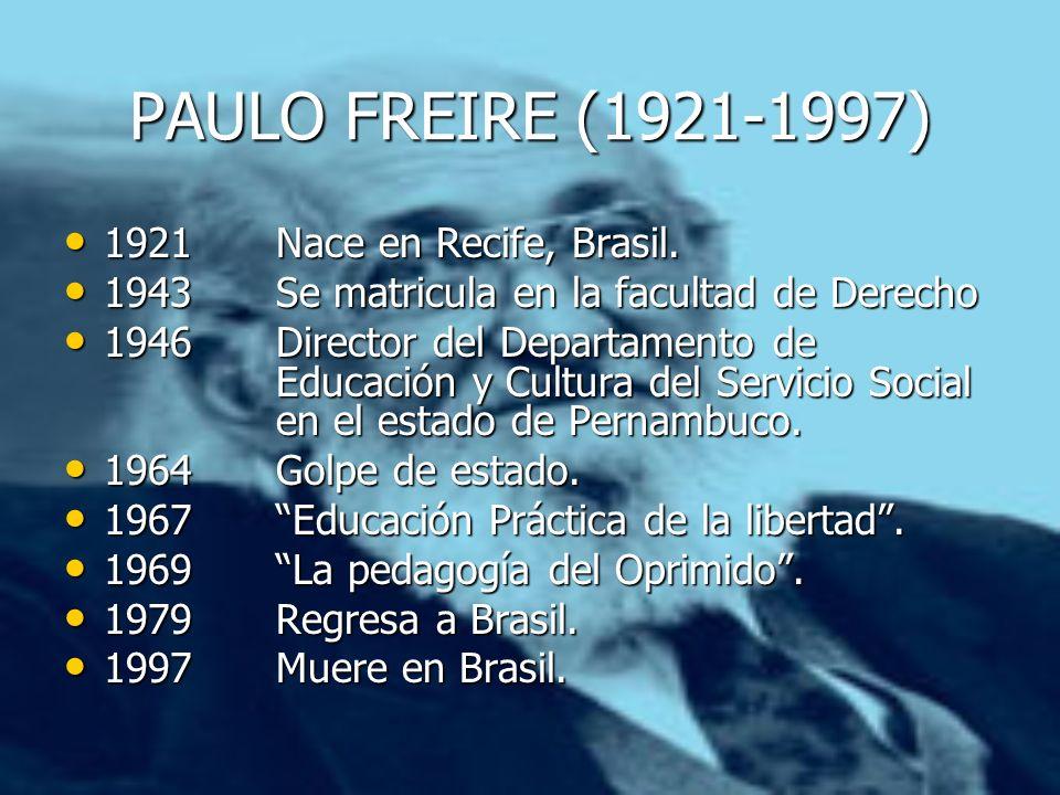 PAULO FREIRE (1921-1997) 1921Nace en Recife, Brasil. 1921Nace en Recife, Brasil. 1943Se matricula en la facultad de Derecho 1943Se matricula en la fac