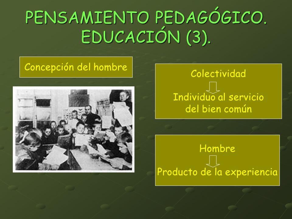 PENSAMIENTO PEDAGÓGICO. EDUCACIÓN (3). Concepción del hombre Hombre Producto de la experiencia Colectividad Individuo al servicio del bien común