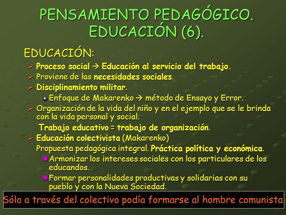PENSAMIENTO PEDAGÓGICO. EDUCACIÓN (6). EDUCACIÓN: Proceso social Educación al servicio del trabajo. Proceso social Educación al servicio del trabajo.