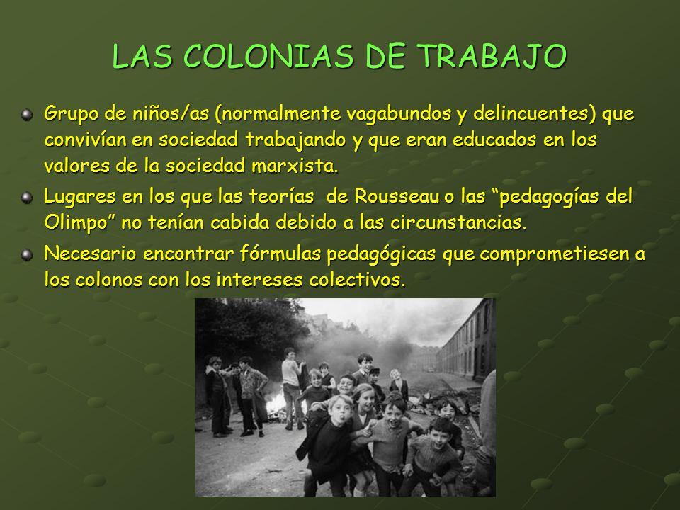 LAS COLONIAS DE TRABAJO Grupo de niños/as (normalmente vagabundos y delincuentes) que convivían en sociedad trabajando y que eran educados en los valo