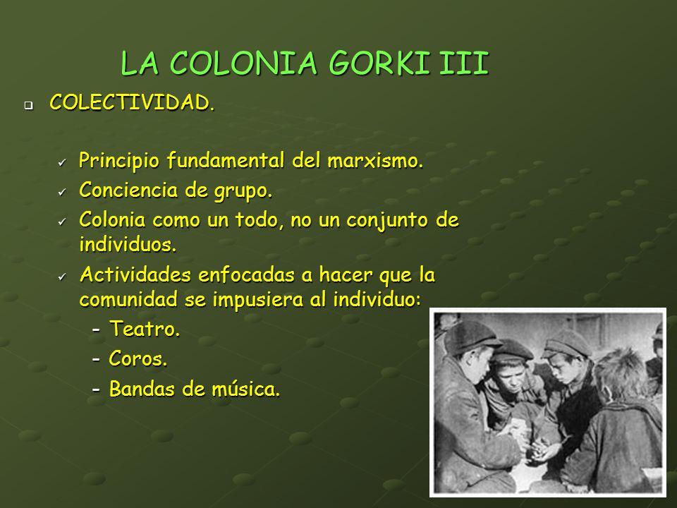 LA COLONIA GORKI III COLECTIVIDAD. COLECTIVIDAD. Principio fundamental del marxismo. Principio fundamental del marxismo. Conciencia de grupo. Concienc