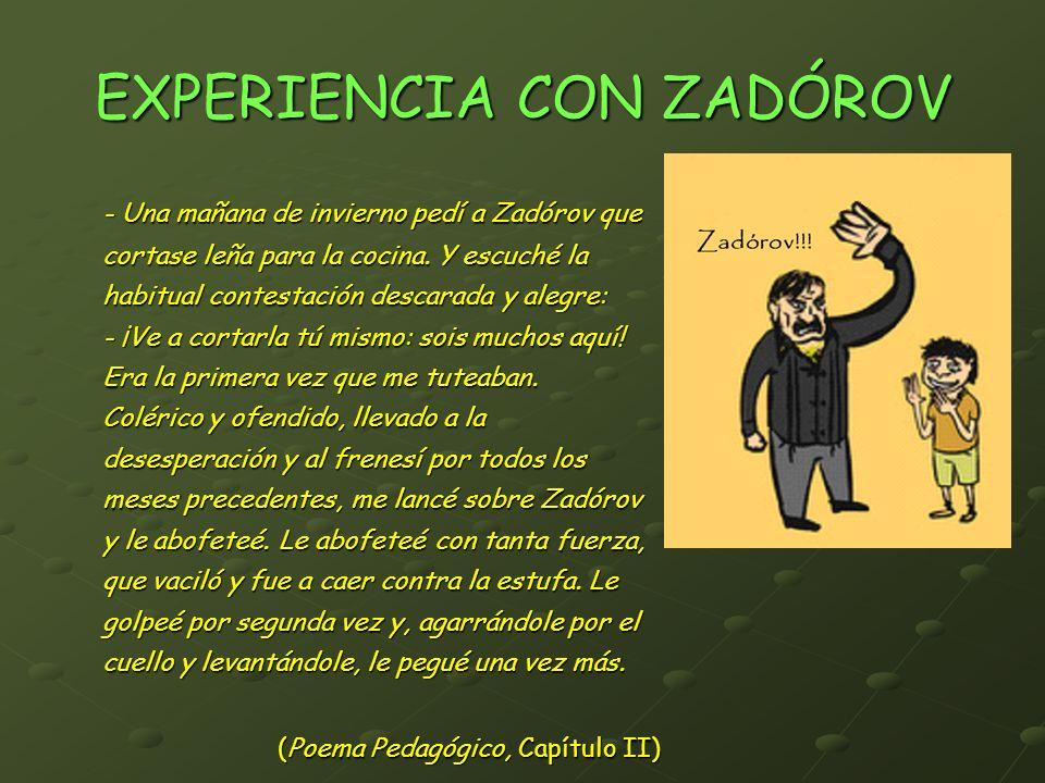 EXPERIENCIA CON ZADÓROV - Una mañana de invierno pedí a Zadórov que cortase leña para la cocina. Y escuché la habitual contestación descarada y alegre