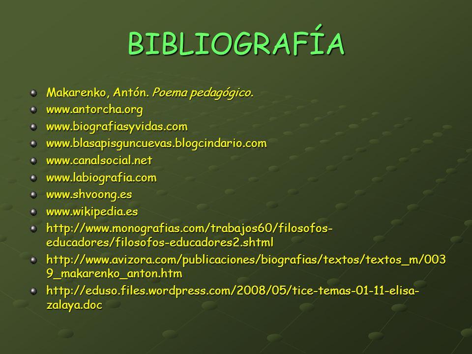 BIBLIOGRAFÍA Makarenko, Antón. Poema pedagógico. www.antorcha.orgwww.biografiasyvidas.comwww.blasapisguncuevas.blogcindario.comwww.canalsocial.netwww.