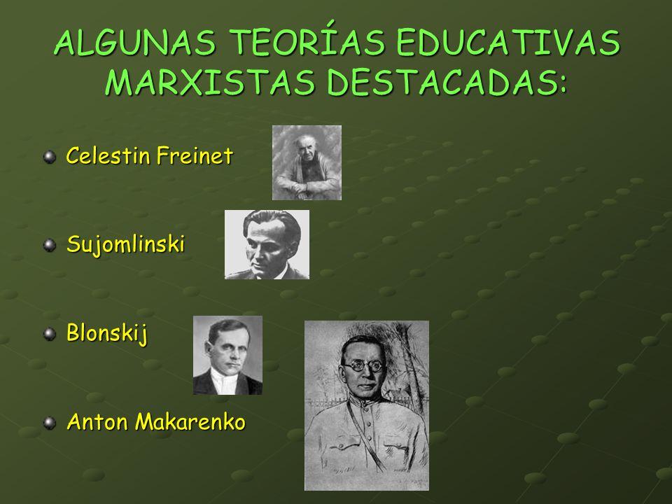 ALGUNAS TEORÍAS EDUCATIVAS MARXISTAS DESTACADAS: Celestin Freinet Sujomlinski Blonskij Anton Makarenko
