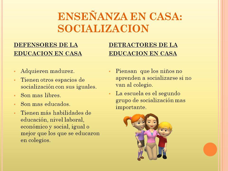 DEFENSORES DE LA EDUCACION EN CASA Adquieren madurez. Tienen otros espacios de socialización con sus iguales. Son mas libres. Son mas educados. Tienen