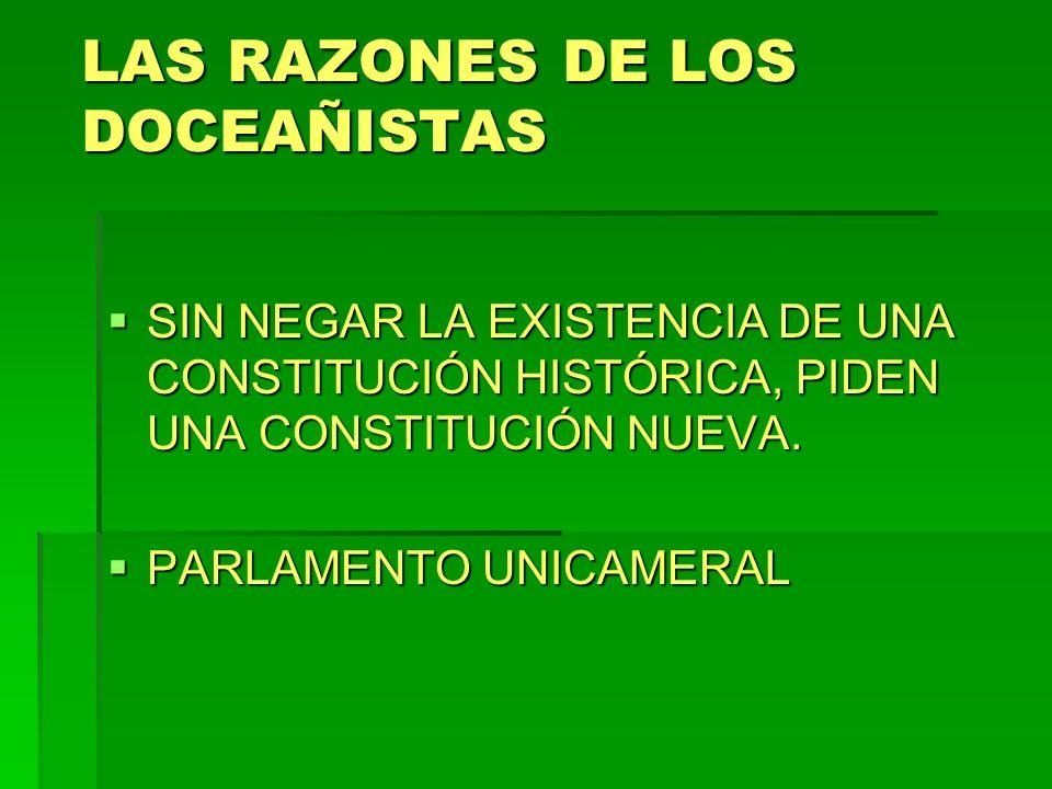 LAS RAZONES DE LOS DOCEAÑISTAS SIN NEGAR LA EXISTENCIA DE UNA CONSTITUCIÓN HISTÓRICA, PIDEN UNA CONSTITUCIÓN NUEVA. SIN NEGAR LA EXISTENCIA DE UNA CON