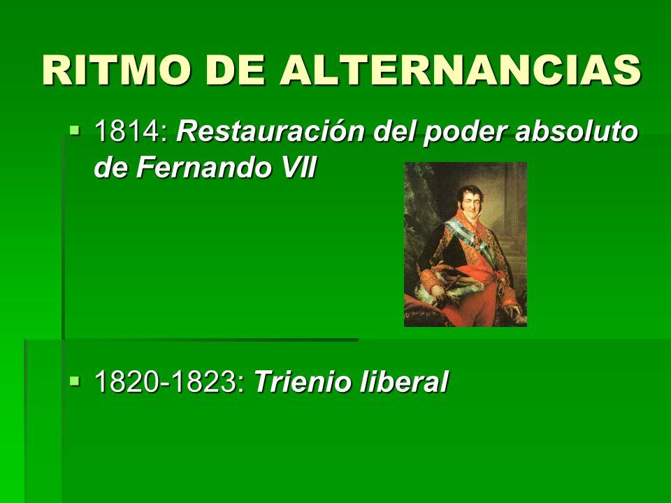 RITMO DE ALTERNANCIAS 1814: Restauración del poder absoluto de Fernando VII 1814: Restauración del poder absoluto de Fernando VII 1820-1823: Trienio l