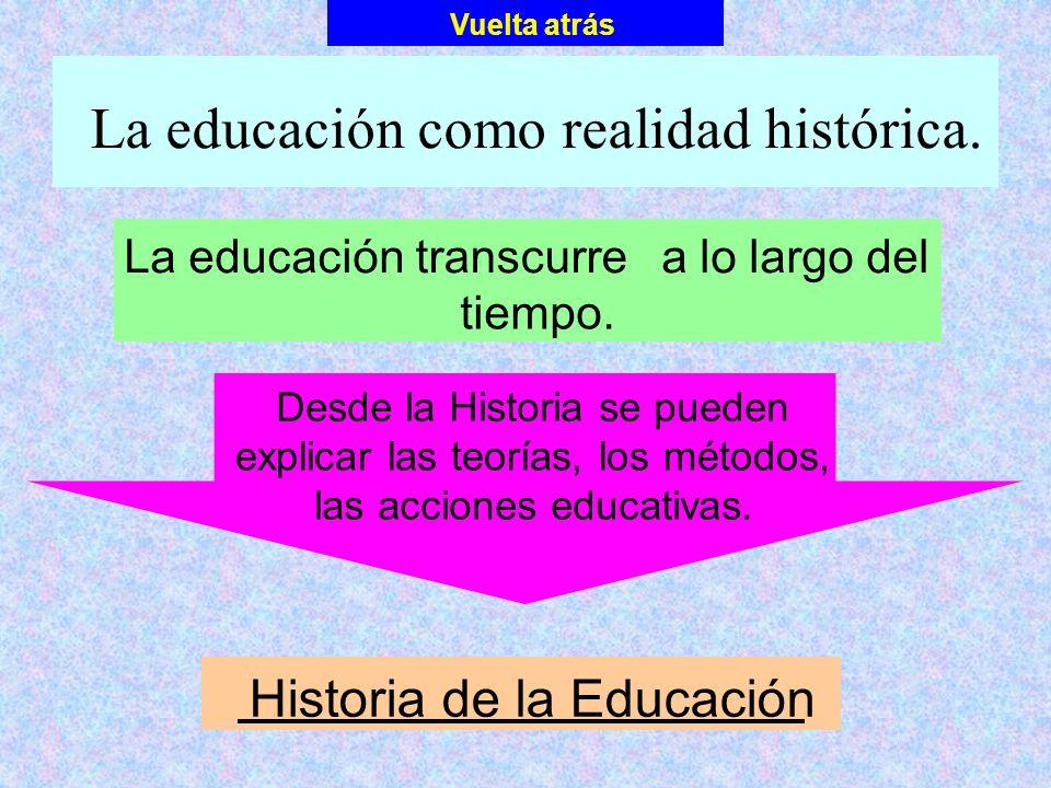 La educación como realidad histórica. La educacióntranscurrea lo largo del tiempo. Vuelta atrás Desde la Historia se pueden explicar las teorías, los