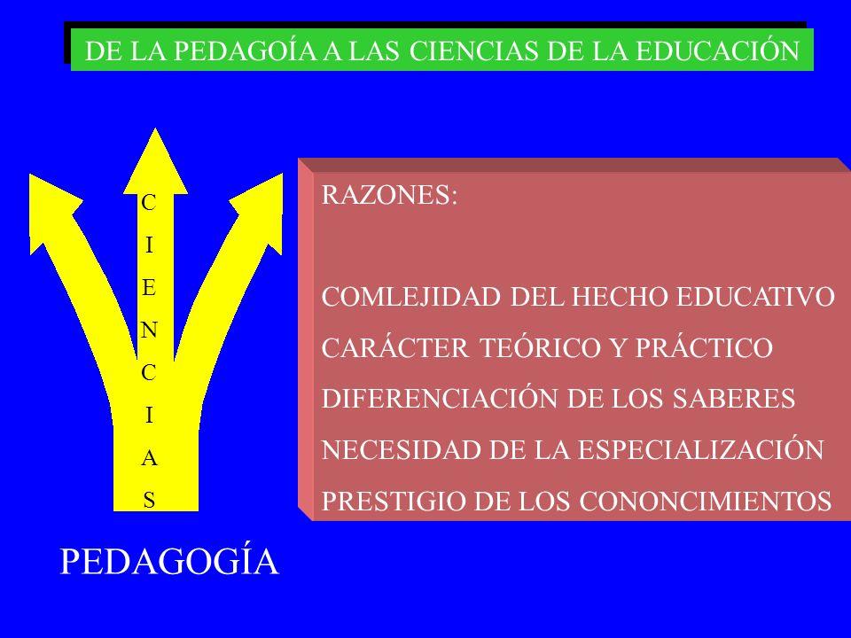 PEDAGOGÍA RAZONES: COMLEJIDAD DEL HECHO EDUCATIVO CARÁCTER TEÓRICO Y PRÁCTICO DIFERENCIACIÓN DE LOS SABERES NECESIDAD DE LA ESPECIALIZACIÓN PRESTIGIO