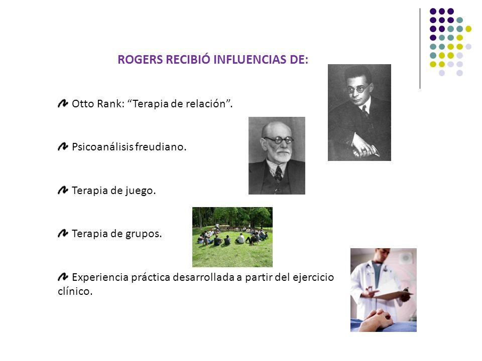 ROGERS RECIBIÓ INFLUENCIAS DE: Otto Rank: Terapia de relación. Psicoanálisis freudiano. Terapia de juego. Terapia de grupos. Experiencia práctica desa