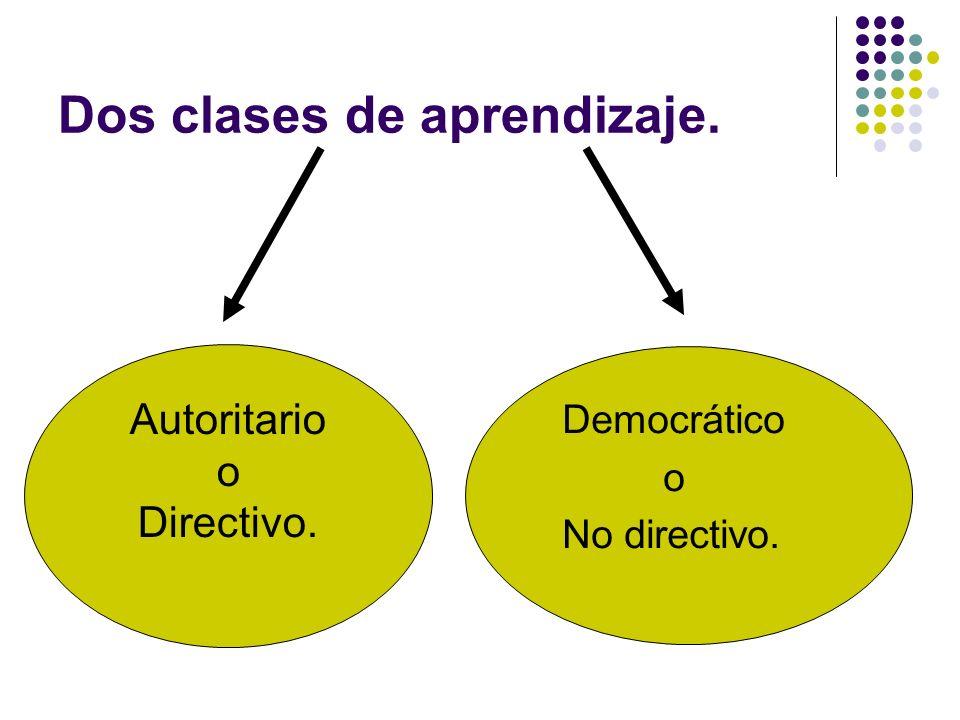 Dos clases de aprendizaje. Autoritario o Directivo. Democrático o No directivo.