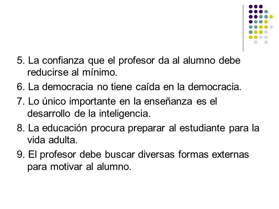 5. La confianza que el profesor da al alumno debe reducirse al mínimo. 6. La democracia no tiene caída en la democracia. 7. Lo único importante en la