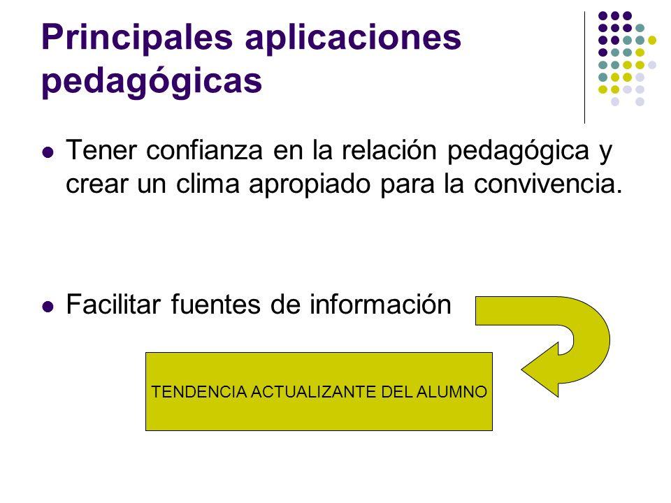 Principales aplicaciones pedagógicas Tener confianza en la relación pedagógica y crear un clima apropiado para la convivencia. Facilitar fuentes de in