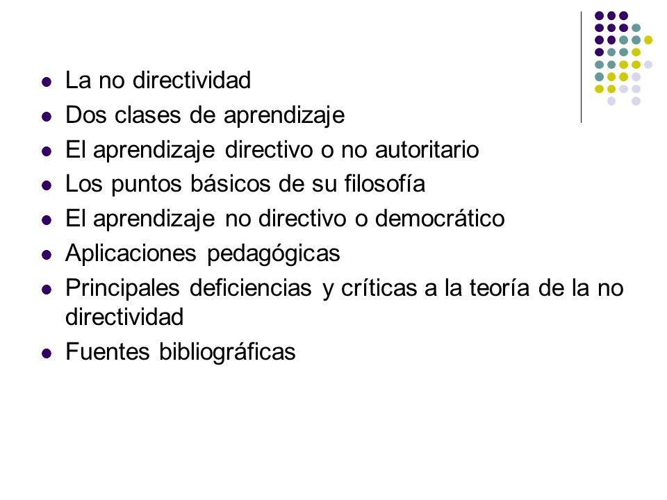 La no directividad Dos clases de aprendizaje El aprendizaje directivo o no autoritario Los puntos básicos de su filosofía El aprendizaje no directivo