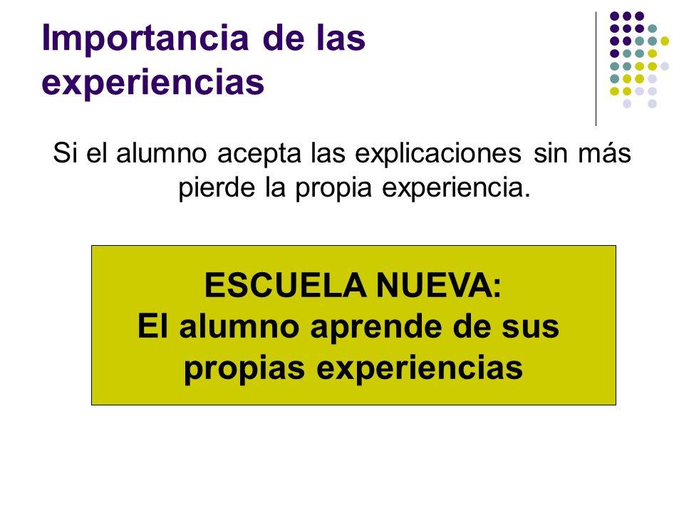 Importancia de las experiencias Si el alumno acepta las explicaciones sin más pierde la propia experiencia. ESCUELA NUEVA: El alumno aprende de sus pr