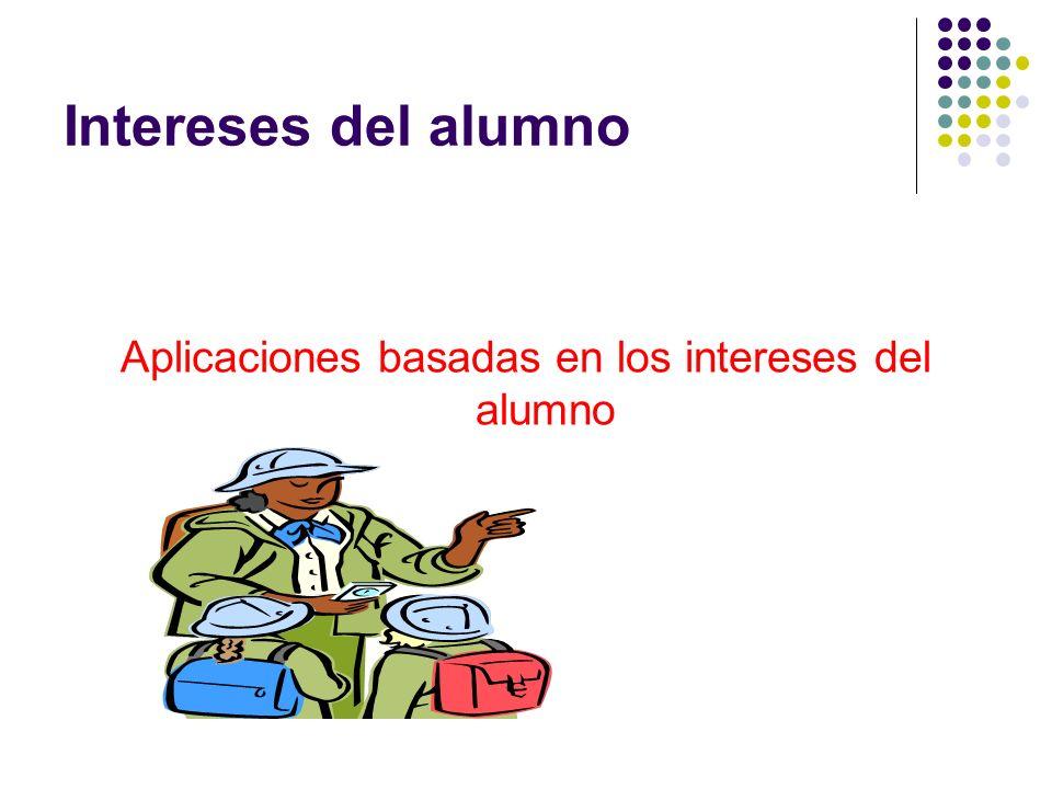 Intereses del alumno Aplicaciones basadas en los intereses del alumno