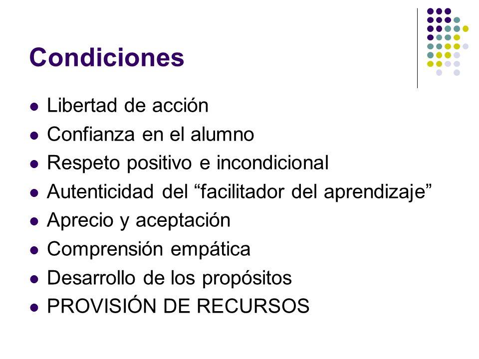 Condiciones Libertad de acción Confianza en el alumno Respeto positivo e incondicional Autenticidad del facilitador del aprendizaje Aprecio y aceptaci