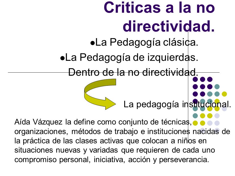 Criticas a la no directividad. La Pedagogía clásica. La Pedagogía de izquierdas. Dentro de la no directividad. La pedagogía institucional. Aída Vázque