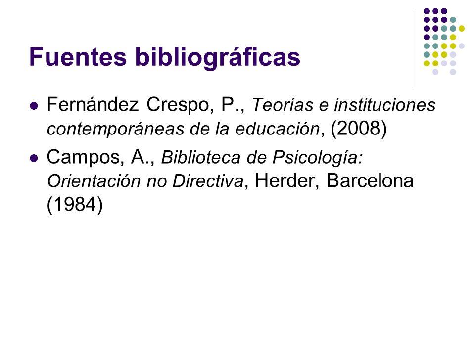 Fuentes bibliográficas Fernández Crespo, P., Teorías e instituciones contemporáneas de la educación, (2008) Campos, A., Biblioteca de Psicología: Orie