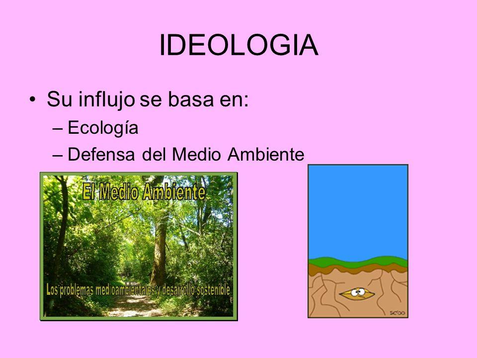 IDEOLOGIA Su influjo se basa en: –Ecología –Defensa del Medio Ambiente