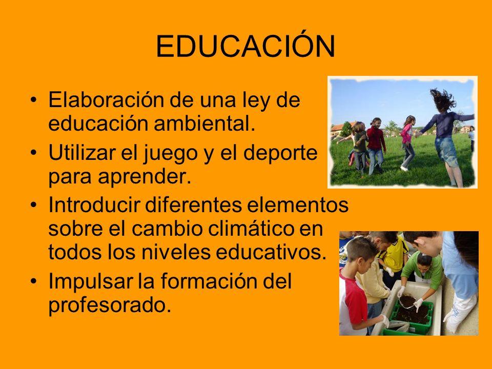 EDUCACIÓN Elaboración de una ley de educación ambiental. Utilizar el juego y el deporte para aprender. Introducir diferentes elementos sobre el cambio