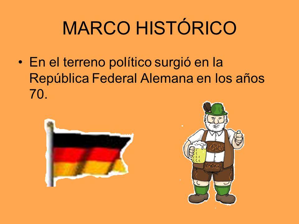 MARCO HISTÓRICO En el terreno político surgió en la República Federal Alemana en los años 70.