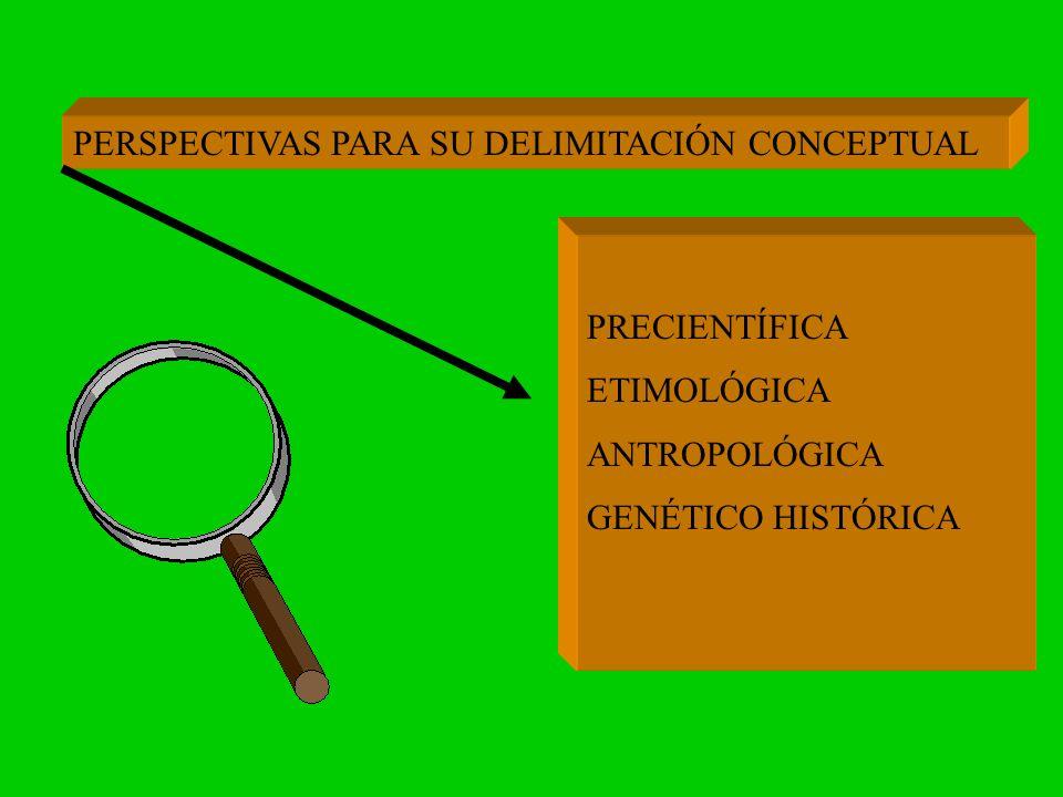 PERSPECTIVAS PARA SU DELIMITACIÓN CONCEPTUAL PRECIENTÍFICA ETIMOLÓGICA ANTROPOLÓGICA GENÉTICO HISTÓRICA