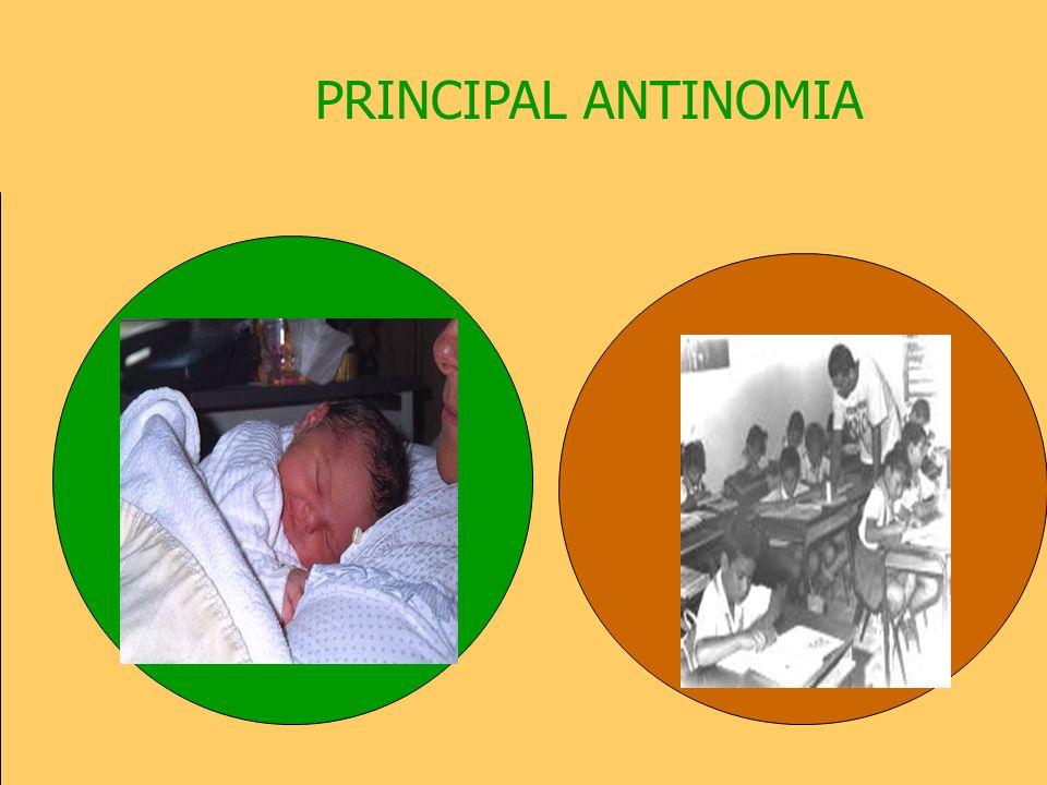LA EDUCACIÓN COMO REALIDAD ANTINÓMICA ANTINOMIAS = ALTERNATIVAS CONTRAPUESTAS