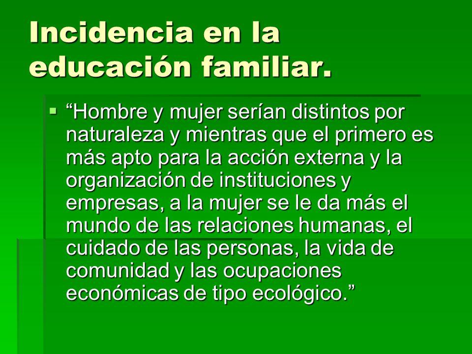 Incidencia en la educación familiar.