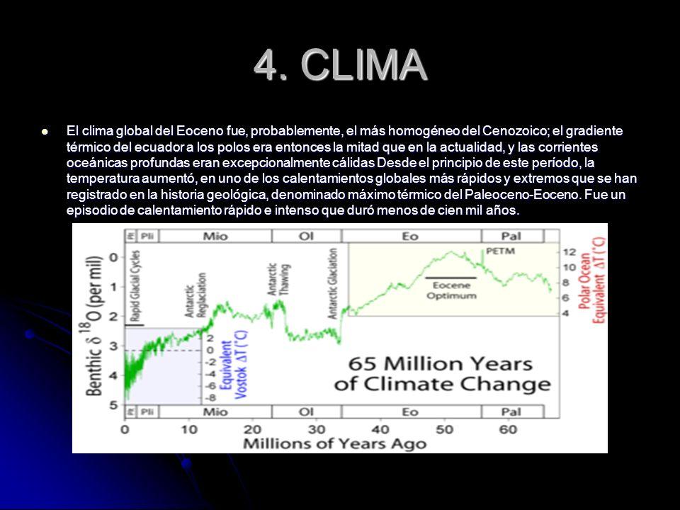 4. CLIMA El clima global del Eoceno fue, probablemente, el más homogéneo del Cenozoico; el gradiente térmico del ecuador a los polos era entonces la m