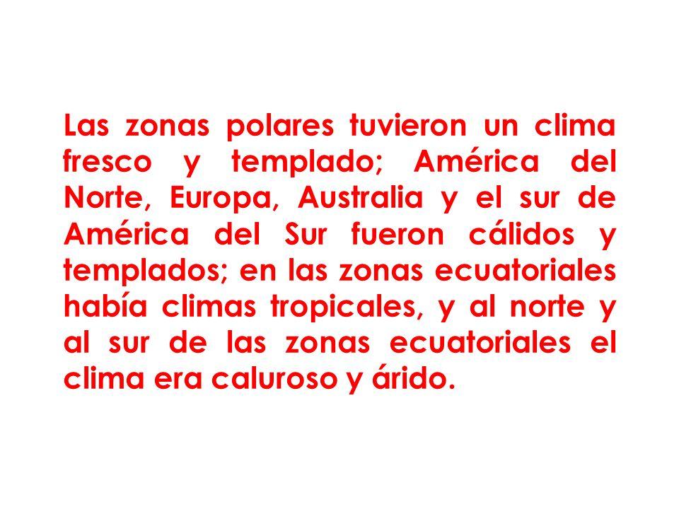 Las zonas polares tuvieron un clima fresco y templado; América del Norte, Europa, Australia y el sur de América del Sur fueron cálidos y templados; en