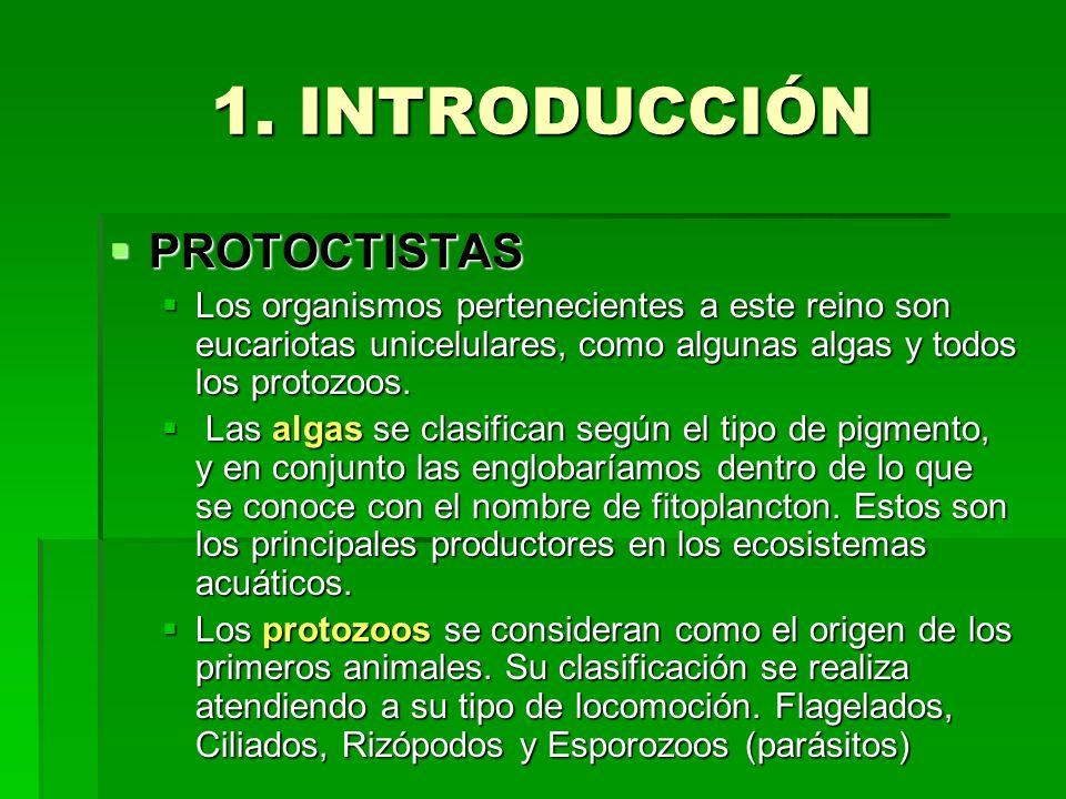 1. INTRODUCCIÓN PROTOCTISTAS PROTOCTISTAS Los organismos pertenecientes a este reino son eucariotas unicelulares, como algunas algas y todos los proto