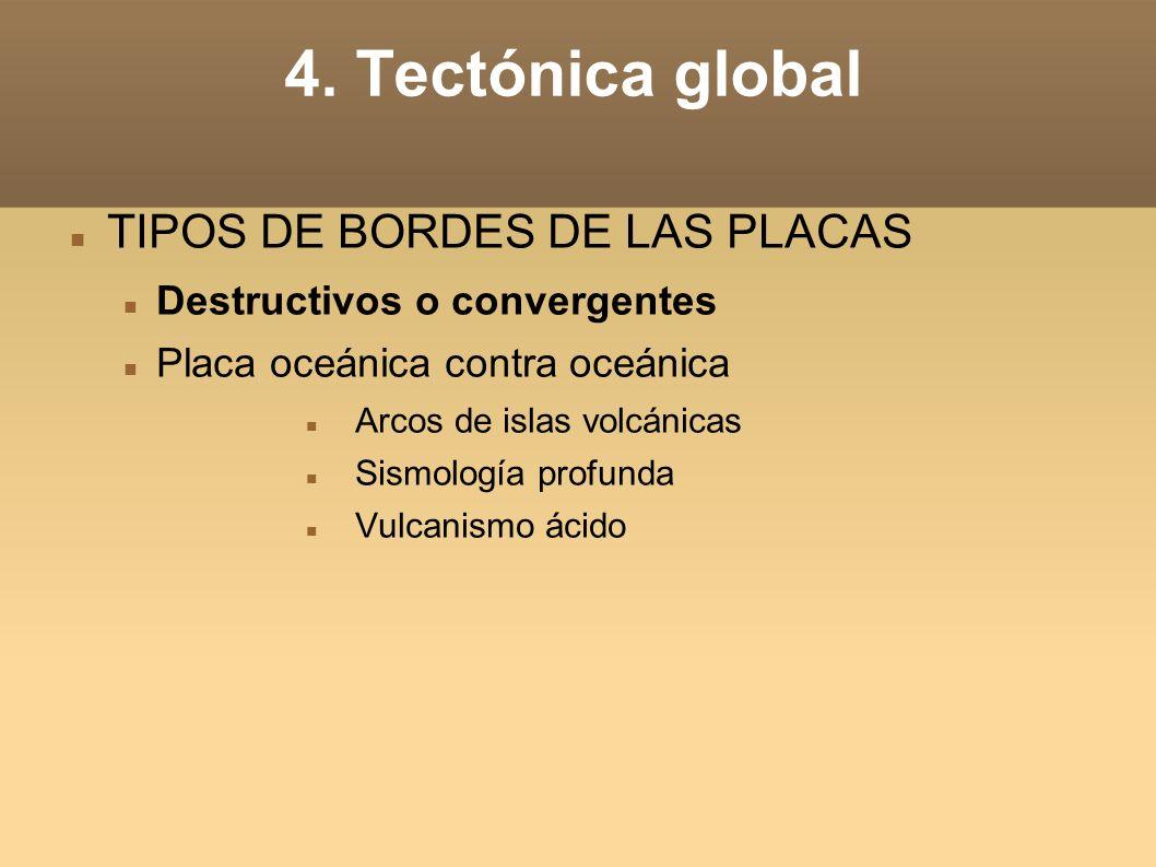 4. Tectónica global TIPOS DE BORDES DE LAS PLACAS Destructivos o convergentes Placa oceánica contra oceánica Arcos de islas volcánicas Sismología prof