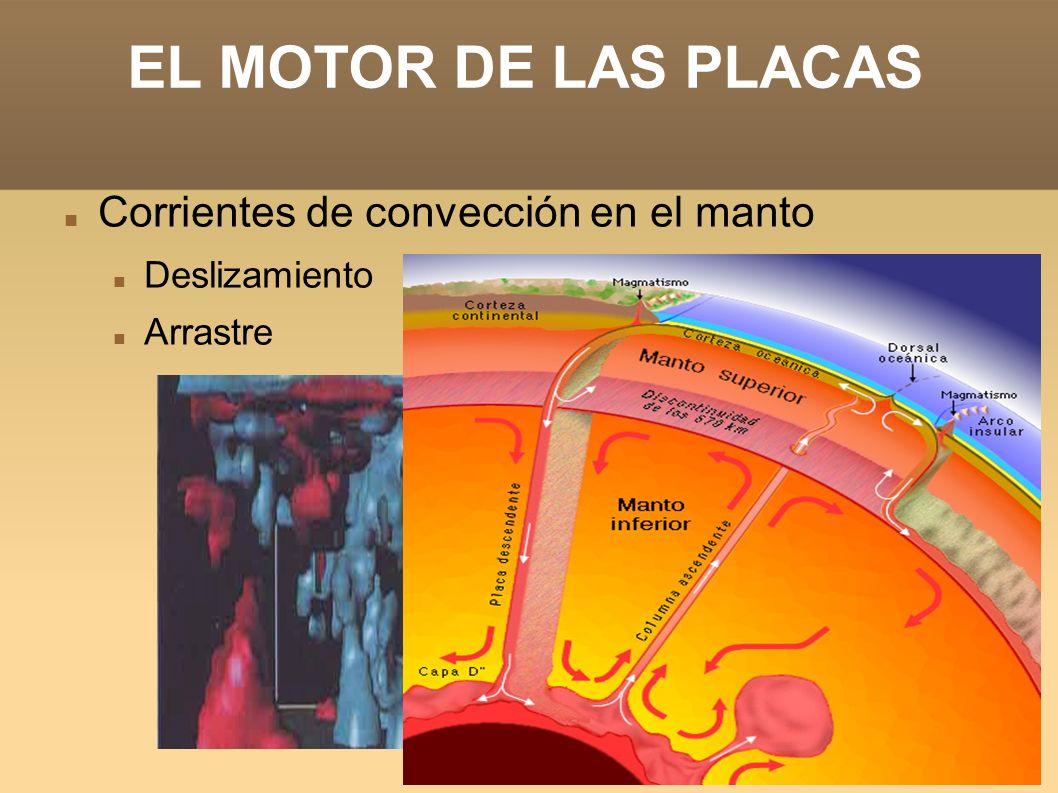 EL MOTOR DE LAS PLACAS Corrientes de convección en el manto Deslizamiento Arrastre