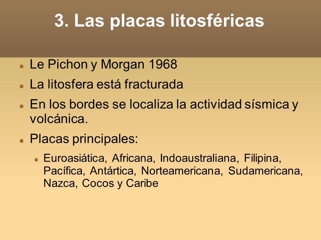3. Las placas litosféricas Le Pichon y Morgan 1968 La litosfera está fracturada En los bordes se localiza la actividad sísmica y volcánica. Placas pri