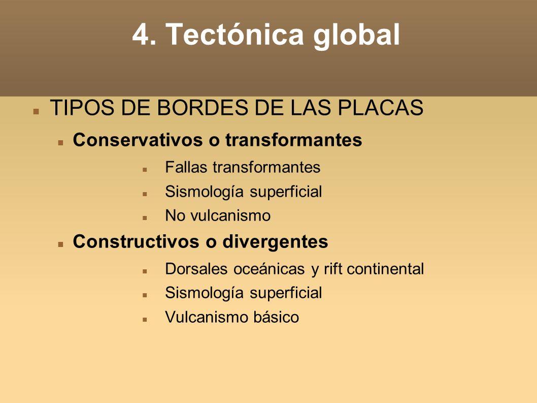 4. Tectónica global TIPOS DE BORDES DE LAS PLACAS Conservativos o transformantes Fallas transformantes Sismología superficial No vulcanismo Constructi