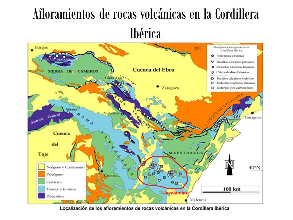 Afloramientos de rocas volcánicas en la Cordillera Ibérica