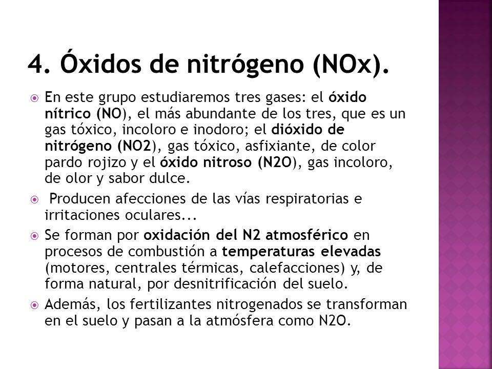 En este grupo estudiaremos tres gases: el óxido nítrico (NO), el más abundante de los tres, que es un gas tóxico, incoloro e inodoro; el dióxido de ni