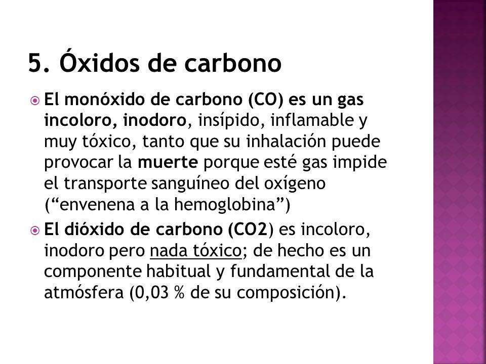 El monóxido de carbono (CO) es un gas incoloro, inodoro, insípido, inflamable y muy tóxico, tanto que su inhalación puede provocar la muerte porque es