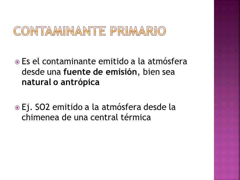 Es el contaminante emitido a la atmósfera desde una fuente de emisión, bien sea natural o antrópica Ej. SO2 emitido a la atmósfera desde la chimenea d