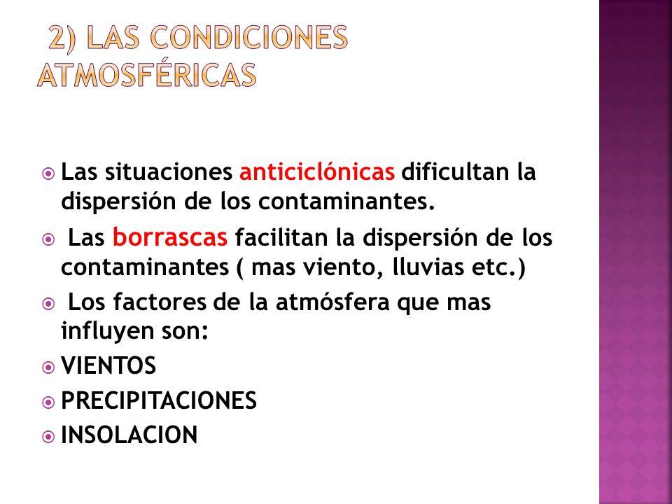 Las situaciones anticiclónicas dificultan la dispersión de los contaminantes. Las borrascas facilitan la dispersión de los contaminantes ( mas viento,