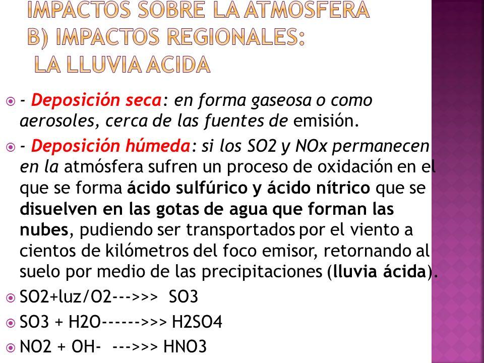 - Deposición seca: en forma gaseosa o como aerosoles, cerca de las fuentes de emisión. - Deposición húmeda: si los SO2 y NOx permanecen en la atmósfer