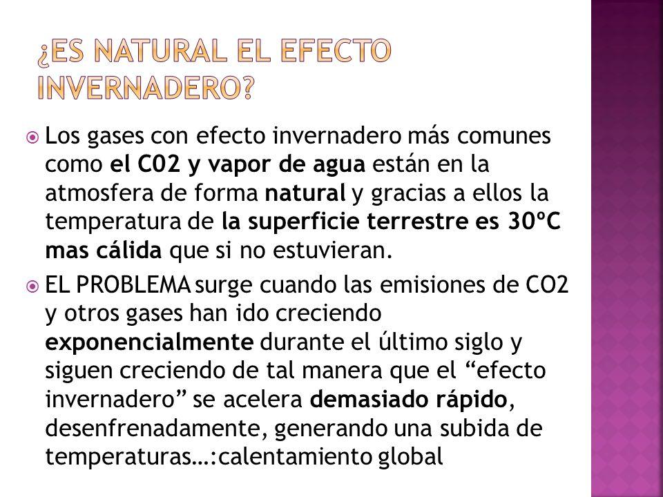 Los gases con efecto invernadero más comunes como el C02 y vapor de agua están en la atmosfera de forma natural y gracias a ellos la temperatura de la