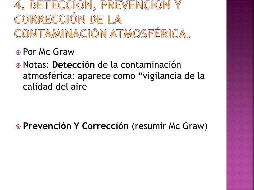 Por Mc Graw Notas: Detección de la contaminación atmosférica: aparece como vigilancia de la calidad del aire Prevención Y Corrección (resumir Mc Graw)
