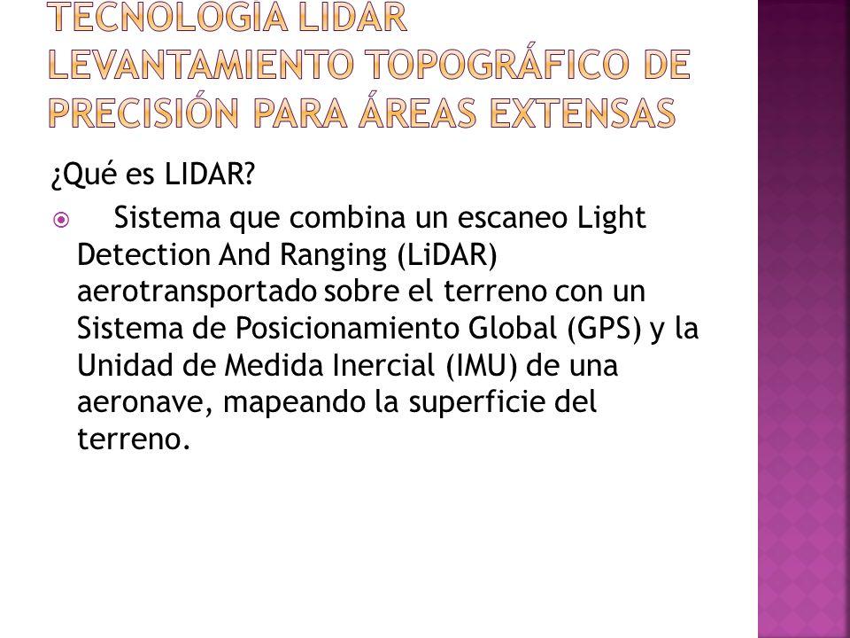 ¿Qué es LIDAR? Sistema que combina un escaneo Light Detection And Ranging (LiDAR) aerotransportado sobre el terreno con un Sistema de Posicionamiento