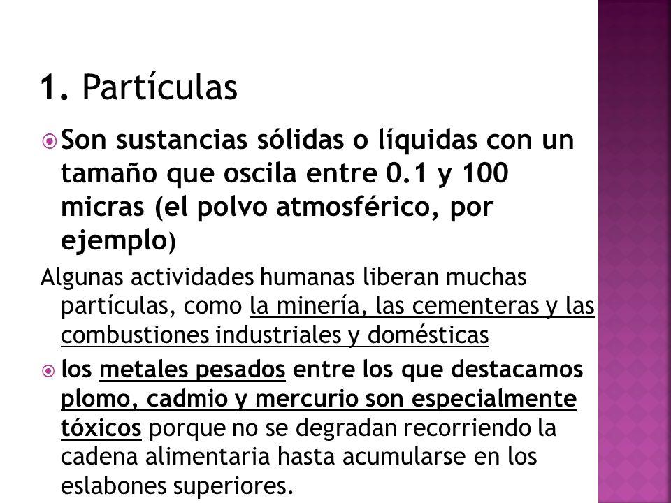 Son sustancias sólidas o líquidas con un tamaño que oscila entre 0.1 y 100 micras (el polvo atmosférico, por ejemplo ) Algunas actividades humanas lib