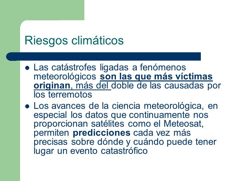 Riesgos climáticos Las catástrofes ligadas a fenómenos meteorológicos son las que más víctimas originan, más del doble de las causadas por los terremo